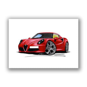 Alfa Romeo 4C - Caricature Car Art Print
