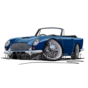 Aston Martin DB5 Convertible - Caricature Car Art Print