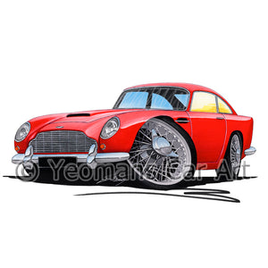 Aston Martin DB5 - Caricature Car Art Print