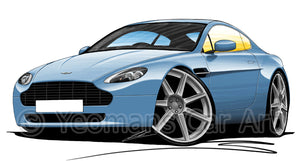 Aston Martin V8 Vantage - Caricature Car Art Print