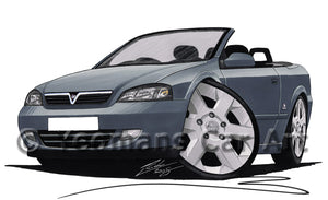 Vauxhall Astra (Mk4) Convertible - Caricature Car Art Print