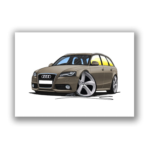 Audi A4 (B8) Avant - Caricature Car Art Print