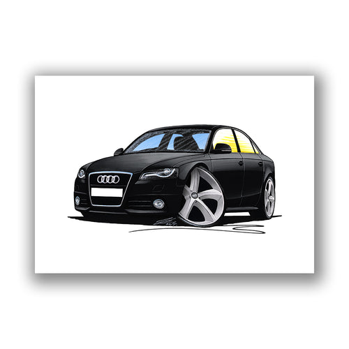 Audi A4 (B8) - Caricature Car Art Print