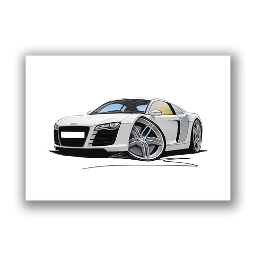 Audi R8 - Caricature Car Art Print