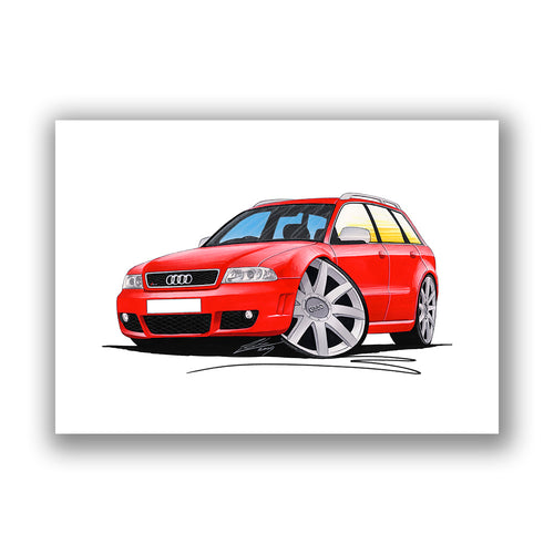 Audi RS4 (B5) Avant - Caricature Car Art Print