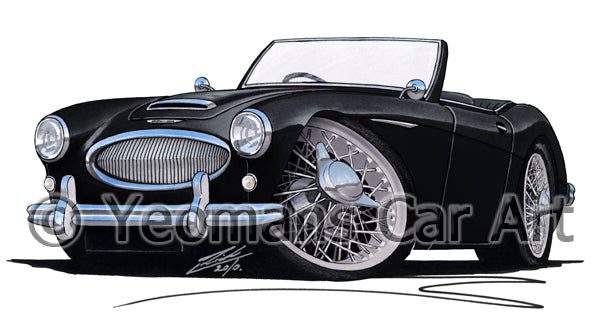 Austin-Healey 3000 - Caricature Car Art Print