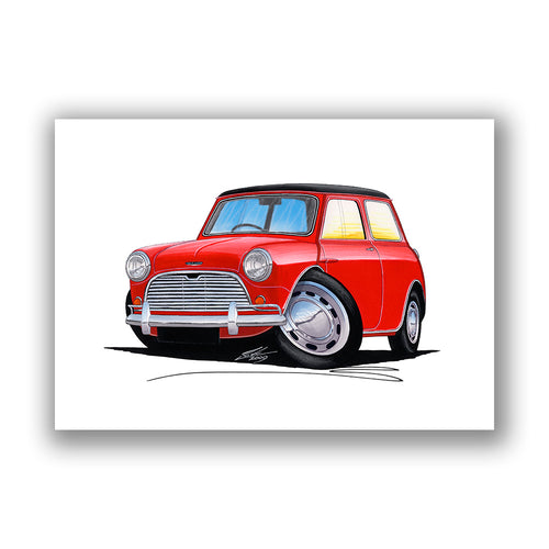 Austin Mini (Mk1) Cooper - Caricature Car Art Print