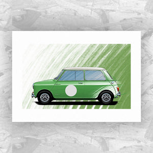 Austin Mini Cooper (Green) - Roadside Icons Art Print