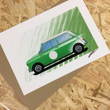 Load image into Gallery viewer, Austin Mini Cooper (Green) - Roadside Icons Art Print
