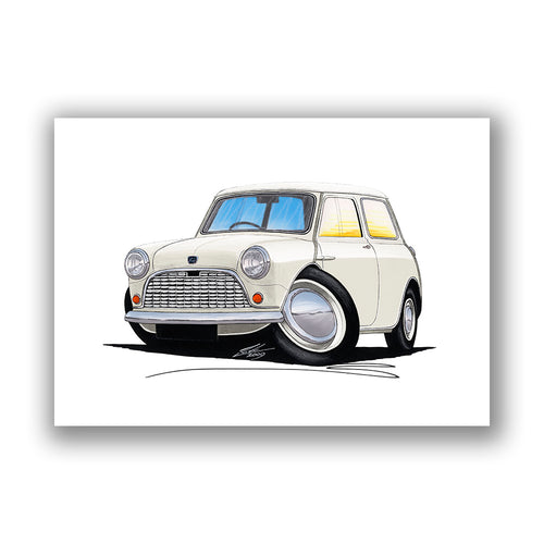 Austin Mini (Mk1) / Seven - Caricature Car Art Print