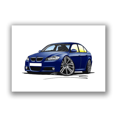 BMW 3-Series (E90) - Caricature Car Art Print