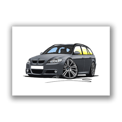 BMW 3-Series (E91) Touring - Caricature Car Art Print