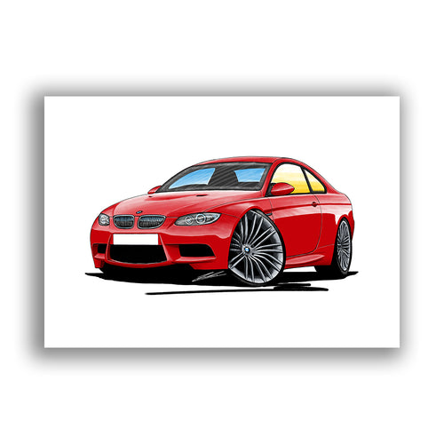 BMW M3 (E92) Coupe - Caricature Car Art Print