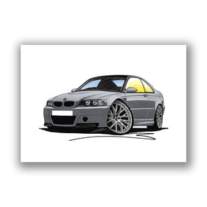 BMW M3 (E46) CSL - Caricature Car Art Print