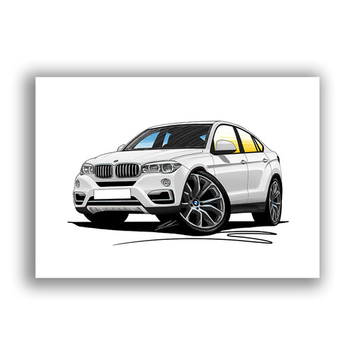 BMW X6 (F16) - Caricature Car Art Print