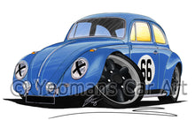 Load image into Gallery viewer, VW Beetle (Racer #66) - Caricature Car Art Print