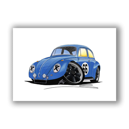 VW Beetle (Racer #66) - Caricature Car Art Print