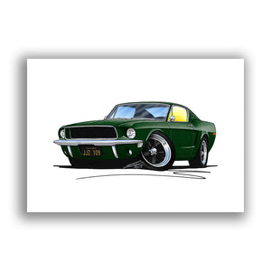 "Ford ""Bullitt"" Mustang - Caricature Car Art Print"