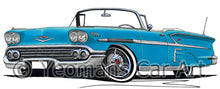 Load image into Gallery viewer, Chevrolet Bel Air Impala (1958) Convertible - Caricature Car Art Print