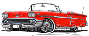 Chevrolet Bel Air Impala (1958) Convertible - Caricature Car Art Print