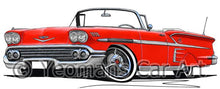 Load image into Gallery viewer, Chevrolet Bel Air Impala (1958) Convertible - Caricature Car Art Coffee Mug