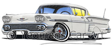 Load image into Gallery viewer, Chevrolet Bel Air Impala (1958) - Caricature Car Art Print