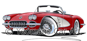 Chevrolet Corvette (1958-1962) - Caricature Car Art Print