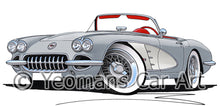 Load image into Gallery viewer, Chevrolet Corvette (1958-1962) - Caricature Car Art Print