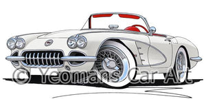 Chevrolet Corvette (1958-1962) - Caricature Car Art Coffee Mug