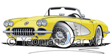 Load image into Gallery viewer, Chevrolet Corvette (1958-1962) - Caricature Car Art Coffee Mug