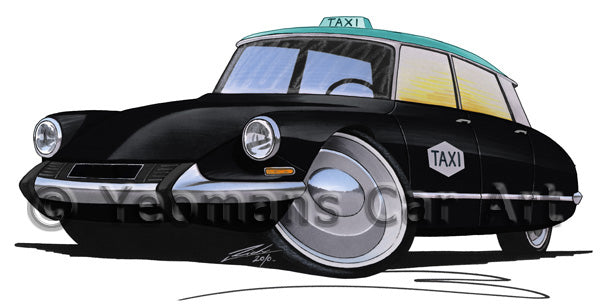 Citroen DS Taxi - Caricature Car Art Print