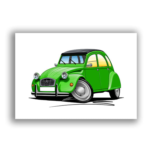 Citroen 2CV - Caricature Car Art Print