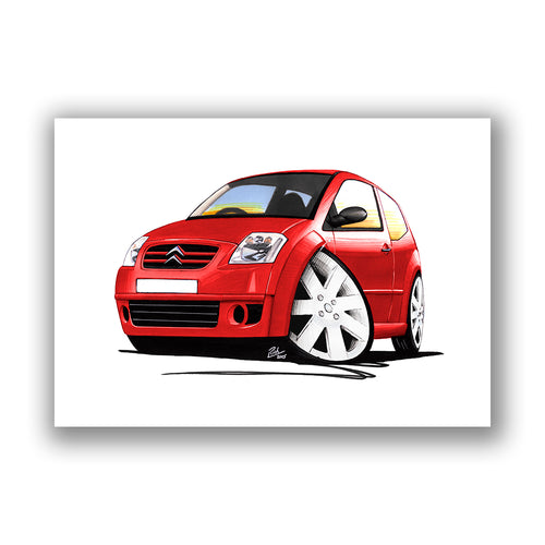 Citroen C2 GT - Caricature Car Art Print