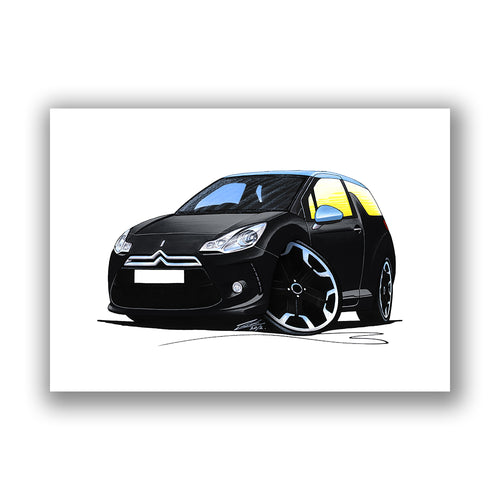 Citroen DS3 - Caricature Car Art Print