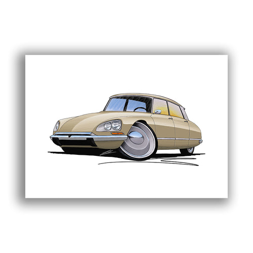 Citroen DS21 - Caricature Car Art Print
