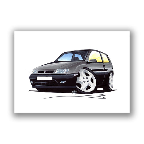 Citroen Saxo (Mk1) VTR - Caricature Car Art Print