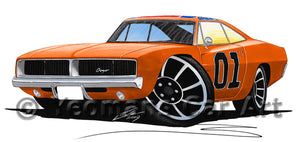 Dodge Charger (General Lee) - Caricature Car Art Print