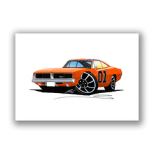 Load image into Gallery viewer, Dodge Charger (General Lee) - Caricature Car Art Print