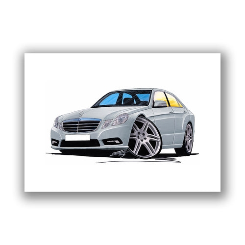 Mercedes E-Class (W212) Saloon - Caricature Car Art Print
