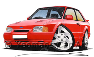 Ford Escort (Mk4) RS Turbo S2 - Caricature Car Art Print