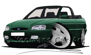 Ford Escort (Mk7) Si Cabriolet - Caricature Car Art Print