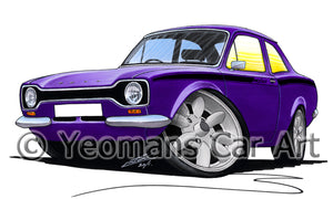 Ford Escort (Mk1) Mexico - Caricature Car Art Print