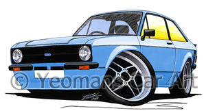 Ford Escort (Mk2) Mexico - Caricature Car Art Print
