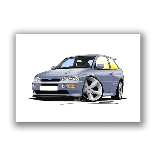 Ford Escort RS Cosworth - Caricature Car Art Print