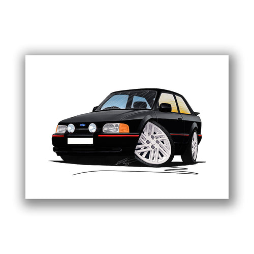 Ford Escort (Mk4) XR3i (90-Spec) - Caricature Car Art Print