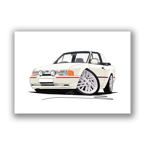 Ford Escort (Mk4) XR3i (90-Spec) Cabriolet - Caricature Car Art Print