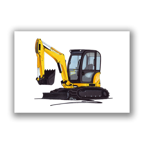 Excavator 8032 - Caricature Car Art Print