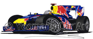 2010 - Red Bull RB6 - Sebastian Vettel - Caricature F1 Car Art Print