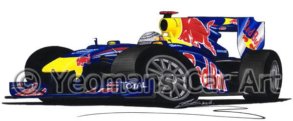 2010 - Red Bull RB6 - Sebastian Vettel - Caricature F1 Car Art Mug