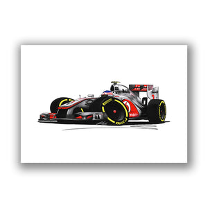 2012 - McLaren MP4-27 - Jenson Button - Caricature F1 Car Art Print
